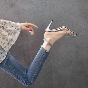 高跟鞋新款甜美细跟公主百搭仙女透明铆钉<span class=H>凉鞋</span>夏季清仓特价小清新