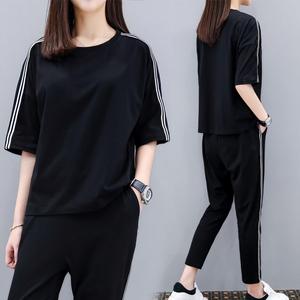 2019夏季新款<span class=H>女装</span>大码时尚运动套装两件套九分裤纯棉休闲套装女春