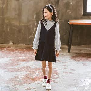 女童2018秋款新品韩版<span class=H>连衣裙</span>洋气时尚女孩裙中大儿童假两件公主裙