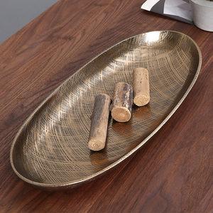 进口金色金属托盘轻奢果盘<span class=H>餐盘</span>欧式水果盘水果篮收纳盘果篓干果盘