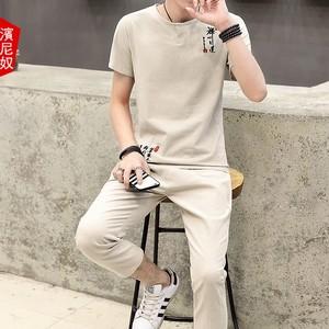 夏季男士套装潮流棉麻短袖<span class=H>t恤</span><span class=H>两件套</span>刺绣亚麻九分裤衣服男款一套