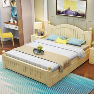 客房白色实木床1.2米单人床儿童床结实午休1.5米<span class=H>大床</span>小户型创意实