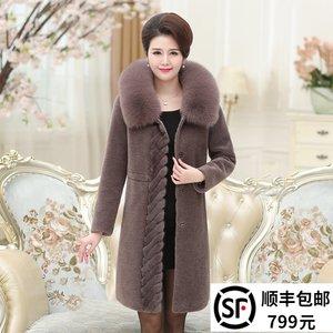 羊剪绒大衣女妈妈装中长款狐狸毛连帽水貂皮毛一体中老年皮草外套