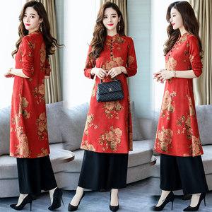 中国民族风复古印花时髦套装2018春秋新款女装气质改良旗袍两件套