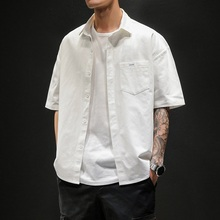 Summer Short-sleeved Shirt for Male Students with Full Size Loose Half-sleeve Pure-color Shirt for Japanese Fat Boys