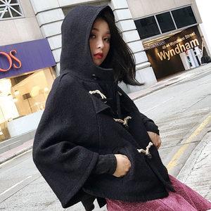 【反季清仓】斗篷<span class=H>外套</span>女小个子短款冬2019新款韩版牛角扣毛呢大衣