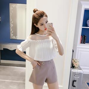 2018夏季新款韩版性感一字领T恤露肩雪纺衫女装网纱拼接漏肩上衣