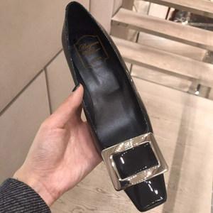 ¡¾Ruyan Vuicr¡¿rv方头粗跟方扣单鞋anna同款平底鞋中跟<span class=H>婚鞋</span>女鞋