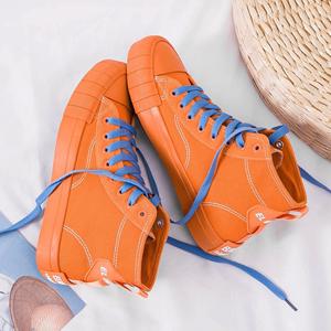 户外新款女式平底高帮旅游休闲帆布鞋透气耐磨防滑板鞋城市轻户外