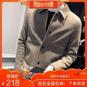 【新年衣】男士羊毛呢外套男短款冬青年韩版潮流修身秋款呢子大衣