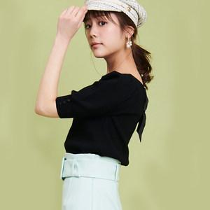 19春 日系甜美少女风 蝴蝶结系带宽松中袖针织衫 短款毛衫