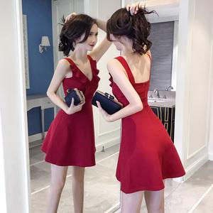 夜店女装2019夏装韩版性感无袖裙子收腰荷叶边显瘦V领露背连衣裙