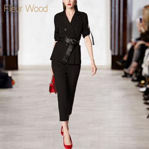 2018秋季新款欧美职业通勤ol黑色西装腰带<span class=H>小脚裤</span>套装女气质两件套