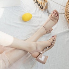 Fashion buckle Sandals New Summer net red 100-set high-heeled shoes, medium-heeled fairy wind thick-heeled women's shoes