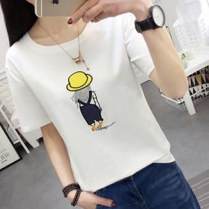 漫塔丽娅夏季短袖<span class=H>t恤</span>女学生韩版时尚显瘦卡通绣花女潮