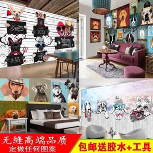 3D狗狗背景墙装饰壁画个性儿童房卡通猫咪墙纸宠物店动物装修壁纸