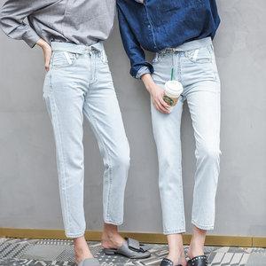ZUCCOS卓蔻明星同款欧美浅色裤子显瘦宽松高腰直筒<span class=H>牛仔裤</span>女九分薄