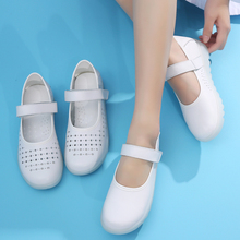 New leather simple white flat-soled nurses shoes slippery soft sole breathable cute hollow shallow slope heel leisure