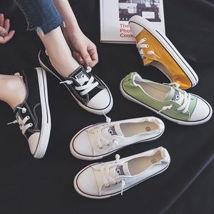 芬爱莎2019夏款夏季浅口<span class=H>帆布鞋</span><span class=H>女鞋</span>子懒人透气舒适板鞋小白鞋