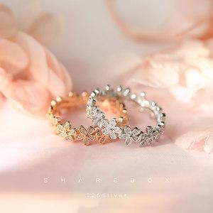 花朵食指小众设计戒指女款s925纯银日韩时尚潮人网红学生个性韩版