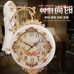 双面挂钟客厅时尚静音欧式挂钟创意家用钟表两面壁钟石英钟 大号