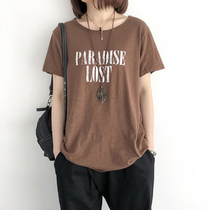 竹节棉<span class=H>t恤</span>女夏季新款宽松圆领打底衫韩版印花中长款显瘦短袖上衣