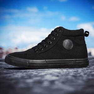 秋季黑色高帮帆布鞋韩版潮流百搭嘻哈高邦板鞋冬季<span class=H>男鞋</span>子加绒棉鞋
