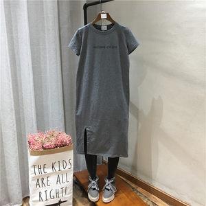 小字母修身显瘦欧美风出游长裙单侧开叉中长款短袖<span class=H>T恤</span>女8812灰色