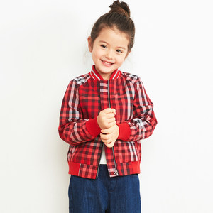Mitti<span class=H>童装</span> 春季新款棒球领短款<span class=H>上衣</span>百搭时尚格子长袖外套男女童