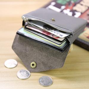 手工女迷你硬币包学生小钱包女士真皮双层搭扣<span class=H>卡包</span>女短款零钱包女