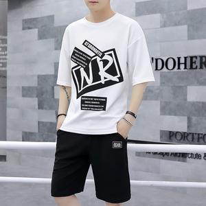 夏季新款男士T恤青少年两件套连帽T恤运动休闲衣服休闲裤套装男潮