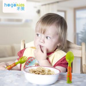 禾果儿童趣味防滑辅食叉子勺子宝宝塑料训练叉勺婴儿餐具套装组合