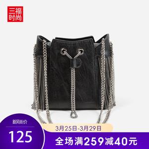 三福2019女春休闲系列链条流苏单肩斜挎包水桶包<span class=H>女包</span>394158