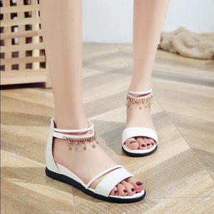 2019新款凉鞋女夏季平底低跟女<span class=H>鞋子</span>坡跟露趾休闲韩版后<span class=H>拉链</span>凉鞋女