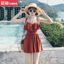 New style spa swimsuit in 2019 is slim and conservative Korean fragrance is gathered in steel-supported one-piece skirt