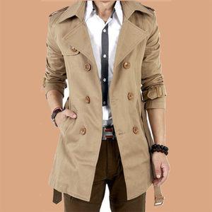 秋冬季风衣男中长款韩版修身学生外套青少年加绒大衣休闲大码男装