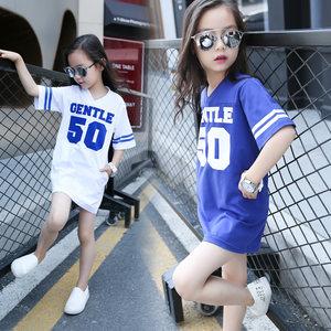 女童夏装短袖<span class=H>T恤</span>中长款2019新款韩版中大童纯棉半袖儿童宽松上衣