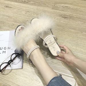 毛毛<span class=H>凉鞋</span>女2018新款夏季中空露趾小清新公主两穿拖鞋平底学生鞋女