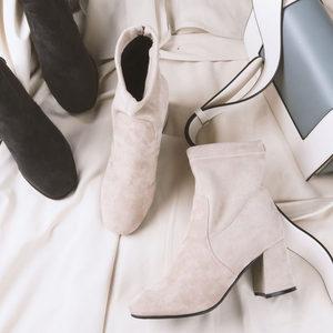 秋冬季高跟<span class=H>短靴</span>女粗跟瘦瘦靴弹力及踝靴2018新款个性短筒时尚圆头