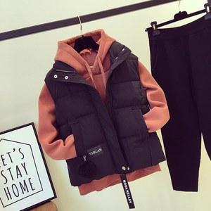 玮琪2017韩版冬季<span class=H>马甲</span>女学生短款加厚宽松新款加绒卫衣套装学院风