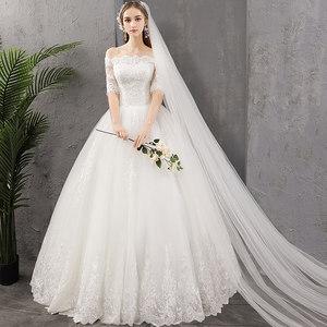 <span class=H>婚纱</span>裙2019新款新娘一字肩齐地显瘦简约白色森系超仙礼服出门纱女