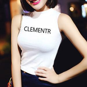 夏季白色t恤短款修身显瘦韩国半高领无袖背心女高腰紧身露脐<span class=H>上衣</span>