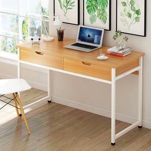简易电脑台式桌带抽屉的长方形<span class=H>桌子</span>家用简约书桌经济型卓现代长桌