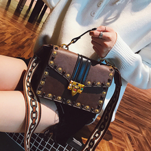 Baggage Girl 2018 New Fashion Retro Rivet Small Square Bag Korean Edition Colour-Coloured Broadband Handbag Shoulder Slant Bag