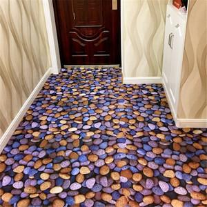 超薄新款田园3D卵石防滑垫厨房长条门厅<span class=H>地垫</span>走廊入户玄关垫地毯