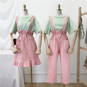 2019春季新款韩版女装条纹圆领短袖T恤女+背带裙裤两件套套装闺蜜