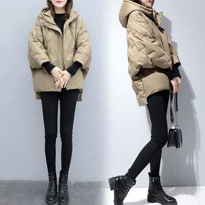 2018新款女装蝙蝠袖轻薄短款<span class=H>羽绒服</span>韩版宽松加厚小个子茧型外套冬