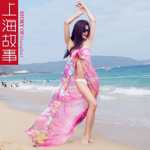 上海故事丝巾<span class=H>女</span>长款纱巾百搭超大夏季沙滩巾海边防晒<span class=H>围巾</span>披肩两用