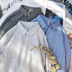 2018春季新款日系小清新条纹长袖<span class=H>衬衫</span>男韩版青年学生衬衣抽绳上衣