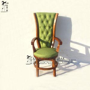 欧式奢华原木真皮单人沙发椅实木电脑椅办公椅高背休闲靠背椅躺椅